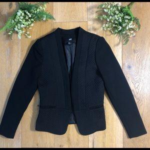 H&M blazer black herringbone women's 2 NWOT!